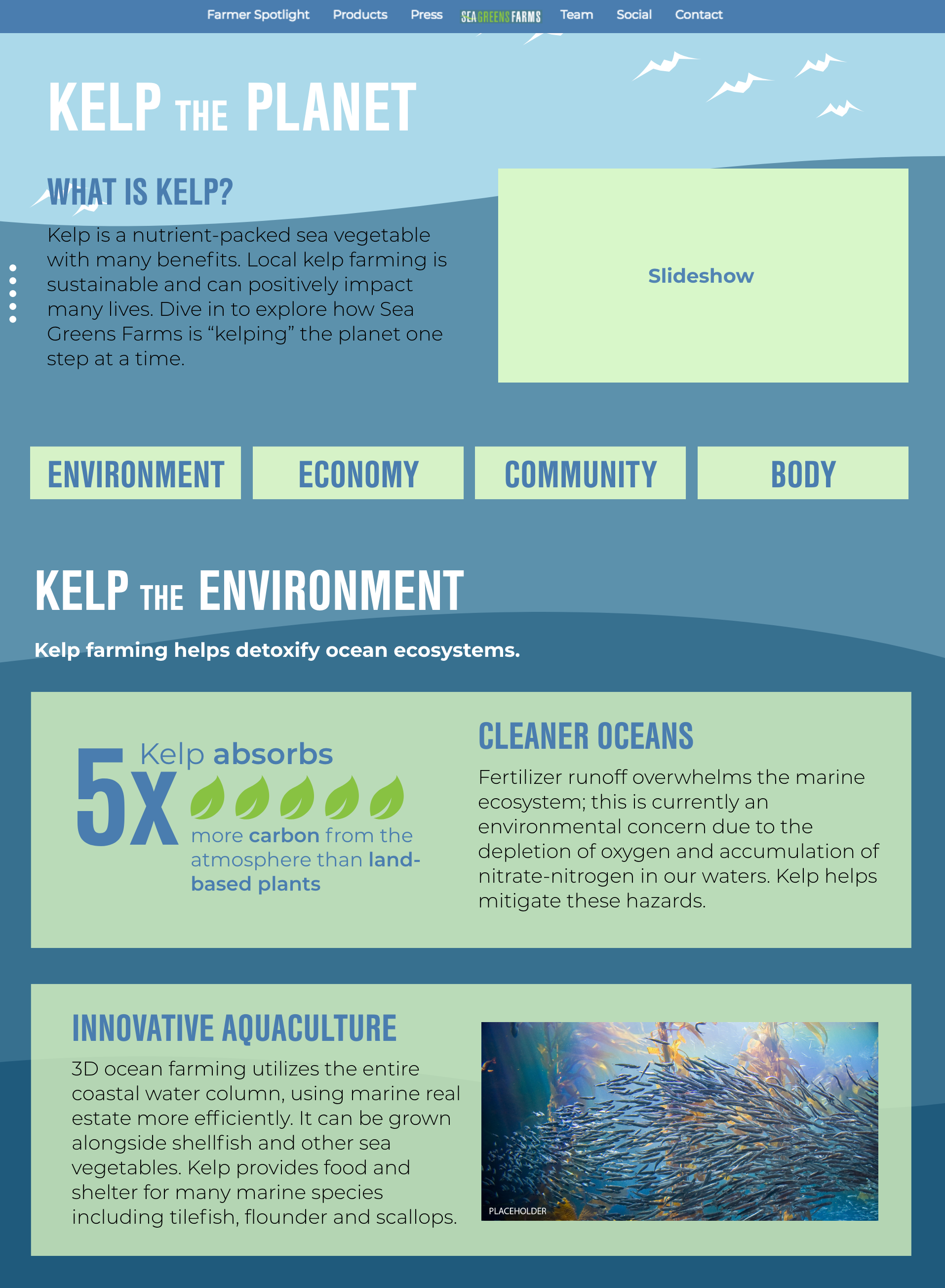 User Interface Design for aquaculture client Sea Greens Farms